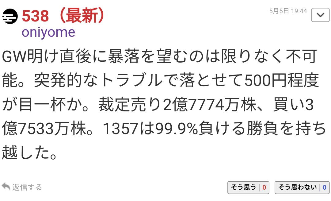 1357 - (NEXT FUNDS) 日経ダブルインバース上場投信 「突発的なトラブルで落とせて500円か」ーー言った先のトランプツイートだったみたいだね。  とりあえ