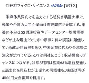 6254 - 野村マイクロ・サイエンス(株) 今日出た株探特集にのりましたね!