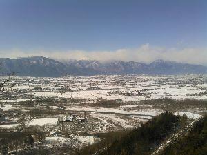 ★☆富山発 心の旅路行き☆★ 今日の富山は雪だったかな。。  北アルプスの向こう、松本は良いお天気でしたよー