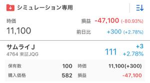 4764 - SAMURAI&J PARTNERS(株) 持ってたとしたら-80.93%