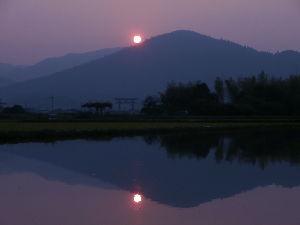 ♪株喫茶♪ 日本最古とも言われる大神神社・三輪山からの朝日でやす。 山が御神体で拝殿はあるが神殿はニャイ。