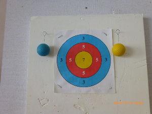 スポーツ吹き矢を始めたが 吹矢でゴルフボール落としを毎日やっています。一発で矢がボールに刺さって落下しボールが揺れるととても気