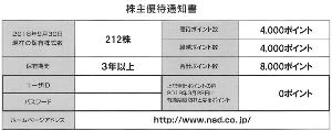 9759 - (株)NSD 【 株主優待カタログ 到着 】 200株 3年以上:4,000ポイント ※昨年繰越で、合計8.000