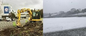 ライオンズファン集いの場所2014-2015 B駐車場で工事が本格的に始まった途端・・・  第二球場は雪景色www