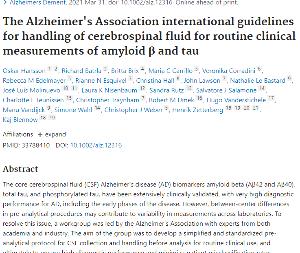 自分用ジョー アミロイドβおよびタウの日常的な臨床測定のための脳脊髄液の取り扱いに関するアルツハイマー協