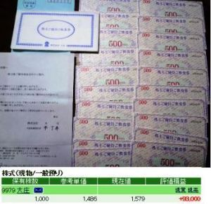 9979 - (株)大庄 毎回株主優待飲食券を申込み、先週の土曜日1日に1万円分(2019年5月31日まで有効の500円券20