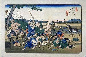 ★☆居酒屋『Love&Peace』信州店_開店のお 浮世絵の「岩村田」が気になっていました。座頭(盲人)同士の喧嘩を描き、他の絵と明らかに違うモチーフで