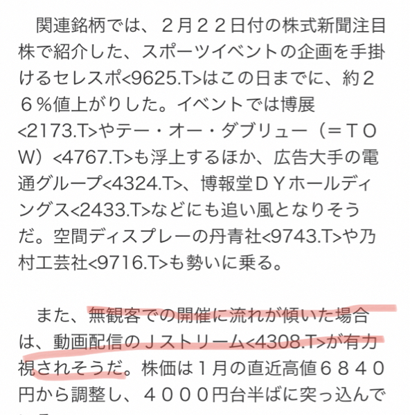 4308 - (株)Jストリーム 2月の記事