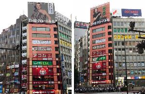 3271 - (株)THEグローバル社 新宿駅南口近くの 【 ミランダ・カー 】 の看板、 そういえば、 だいぶ前から変わってるね -。