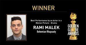 映画大好きな人! やったー!ラミ・マレックがゴールデングローブ賞の主演男優賞を受賞しました!!