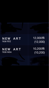 7638 - (株)NEW ART HOLDINGS 65円越えるまで売りませーん(´-ω-`)