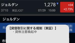 3710 - ジョルダン(株) 注意喚起中