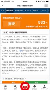 1853 - (株)森組 景気づけに(^^) みんかぶの株価診断 533円