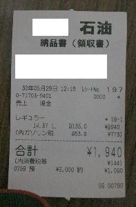 ■ 仕方なく一人ドライブ ■ 写真を忘れていました。  リッター135円の領収書の写真を忘れていました。