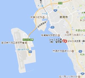 5342 - ジャニス工業(株) 本社所在地〒479-8577 愛知県常滑市唐崎町  セントレアの目の前ですね。
