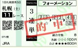 4689 - ヤフー(株) 札幌11R 1着2番ー2着3番ー3着12番=15,430円
