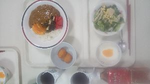 (*_*(゚。゚) あら、あら・・・・・ 今日デイ昼食  希望メニュー  ⭕夏野菜カレー🍛  ❌スタミナ丼  スプーン動作  簡単ですから