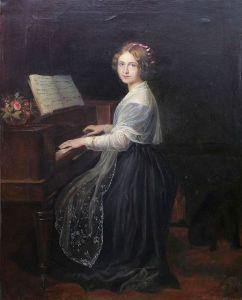 《 窓 梅 神 社 》 Louis Asher  ピアノに向かうジェニー・リンド,1845