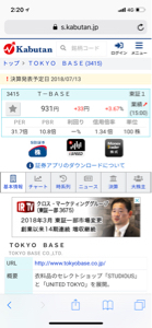 3415 - (株)TOKYO BASE 決算は7/13ですね!前回の時のように売り込まれないで欲しいです。