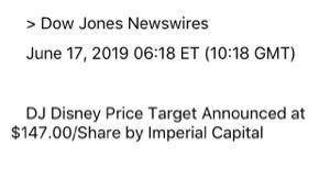 DIS - ウォルト・ディズニー Imperial Capital が$147のIn-lineにダウングレード