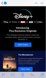 DIS - ウォルト・ディズニー Disney+からemailが来てた
