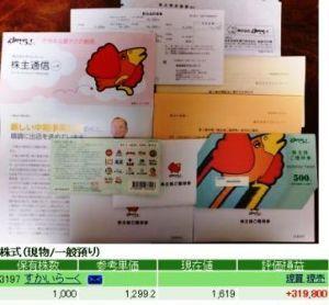 3197 - (株)すかいらーくホールディングス 3倍になった株主優待券が届きました!来年9月30日まで有効の500円券22枚×3、33,