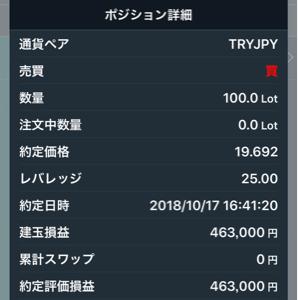 tryjpy - トルコ リラ / 日本 円 買い直しの100枚、 しばらくホールド 😄