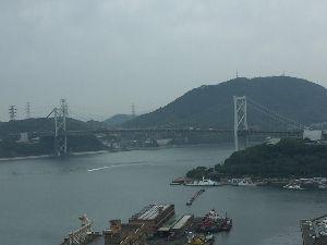 50代の休息地^^ 門司港から見た関門橋でーす(^ ^)