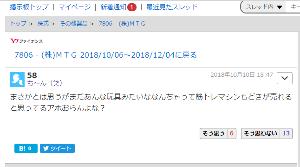 7806 - (株)MTG 昨年10月(このゴミ株が6000円ついてた頃)にこの書き込みした俺、やっぱ見る目あるな~ 必死に青ポ