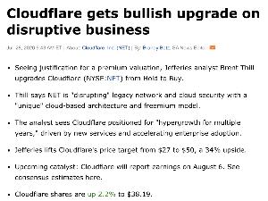 NET - クラウドフレア ここにきてジェフリーズがクラウドフレア(NET)の目標株価を一気に50ドルに上げてきましたね。  も
