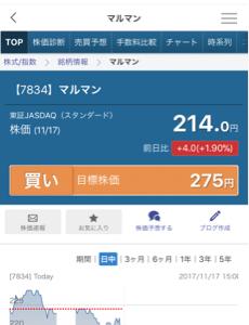 7834 - マルマン(株) 2017/11/19 - マルマン (7834) の、みんかぶ目標株価は「275円」で【買い】と評価