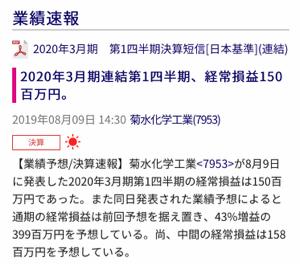 7953 - 菊水化学工業(株) 晴れてる〜