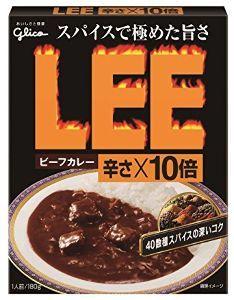 2206 - 江崎グリコ(株) LEEビーフカレー 辛さ×10倍           これは美味しい。 辛さは他社のタバ