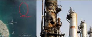 1605 - 国際石油開発帝石(株) 現時点でRas Tanuraの洋上積み出し施設(写真左)で 3隻のタンカーが原油を取っています。 供