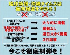 マスメディア 琉球新聞・沖縄タイムズは        ☟