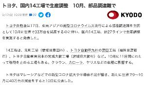 7201 - 日産自動車(株) >トヨタ、国内14工場で生産調整 10月、部品調達難で https://news.yahoo.co.