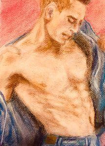 井戸端音楽会 InStyle のお写真のアダムくんをパステルで描く バッキバキの腹筋とデニムの風合いに苦戦・・・&
