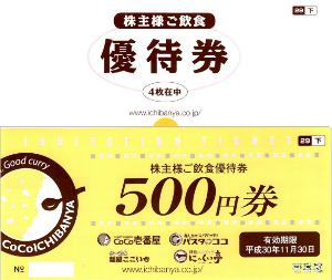 7630 - (株)壱番屋 【 株主優待到着 】 200株 2,000円相当 優待券(500円券)4枚 -。