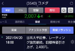 3543 - (株)コメダホールディングス 目標株価ひきあげ
