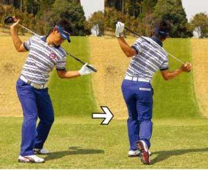 100切りゴルフサロン 肩は縦回転(その7)  写真を参考にして下さい。