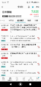 9101 - 日本郵船(株) えっと 独自調査による計算では  日本郵船 最新EPS  4700円以上 配当性向23.5% 配当金