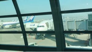 9202 - ANAホールディングス(株) 羽田第2ターミナル。ANAの機材が10分も早着したよ?ちょっと寒いところに出かけます。  4600で