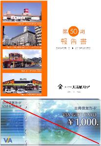 9846 - (株)天満屋ストア 【 株主優待 到着 】 1,000円VJAギフトカード -。