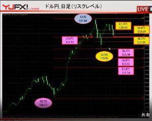 情報 為替  12/8 121.84円 12/16 115.55円(世界同時株安) 38.2%戻し 117
