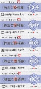 2698 - (株)キャンドゥ 【 株主優待 到着 】 (100株) 優待券20枚(2,000円+税相当分)-。