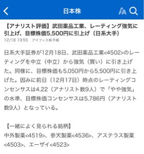 4502 - 武田薬品工業(株) レーティングもどんどん出てるね