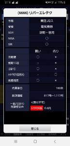 6666 - リバーエレテック(株) SBI証券ハイカラ売り切れ