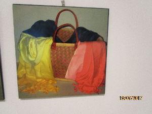 一言吐露したい 商店街にある壁に展示されていた20点ほどの油絵の中の一画。