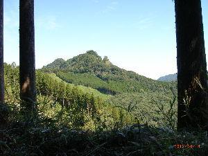 *** ディジカメ散歩 *** 「木の間から見たぼろ石山」です。  皆さん、  こんばんは。  ーー 「木の間から見たぼろ石山」です