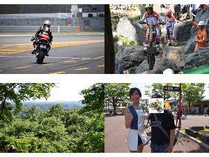 初心者大歓迎ツーリング ひかるさん  そう真矢さん(画像 左上)を、いつかダウンヒルストレートからの 90°コーナー